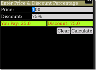 Discount Calculator calcula los descuentos en tu blackberry